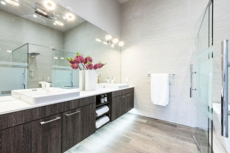 banos estilo minimalista moderno paredes blancas lavabo madera ideas