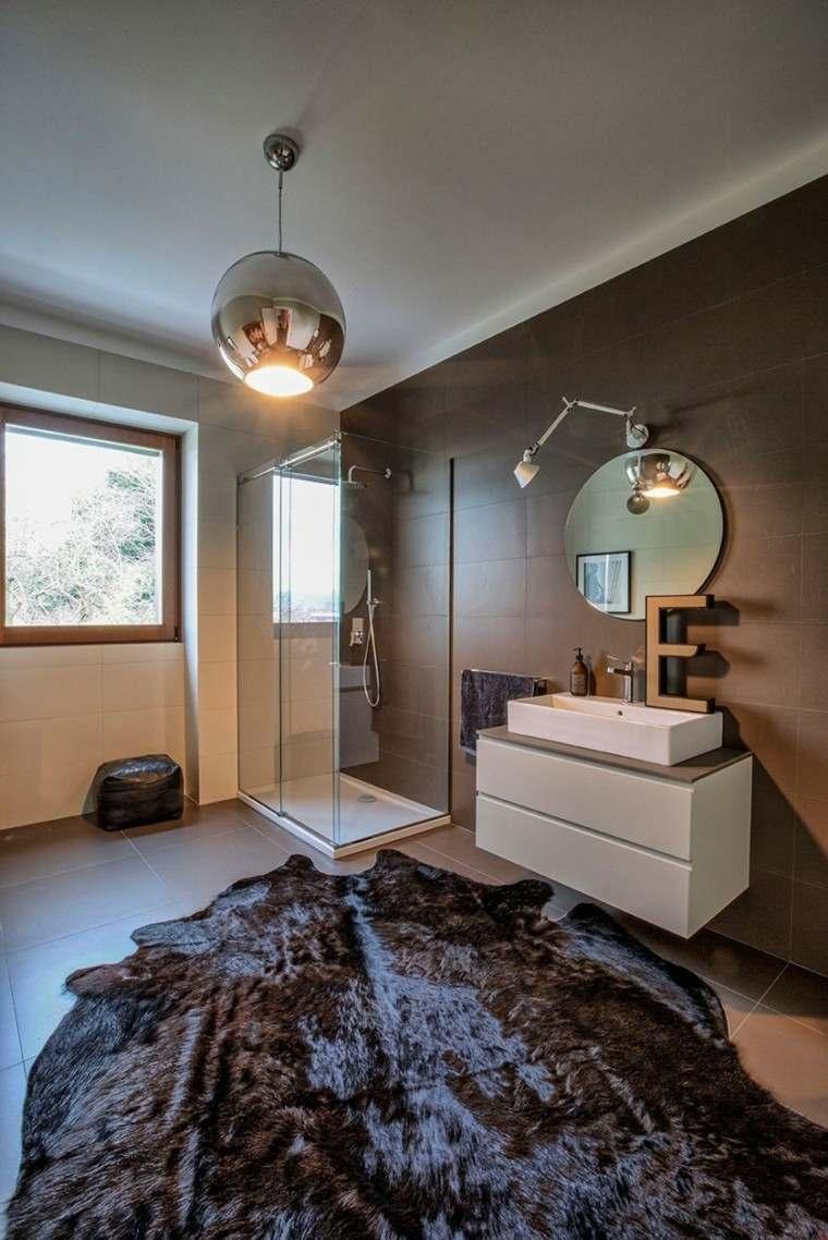banos estilo minimalista moderno paredes losas marron ideas