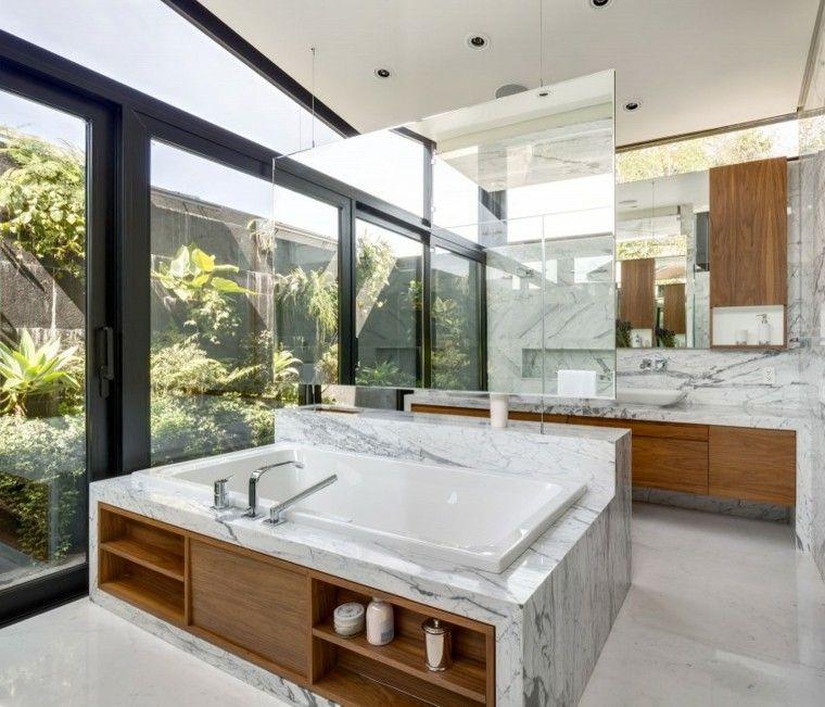 banos estilo minimalista moderno paredes marmol ideas