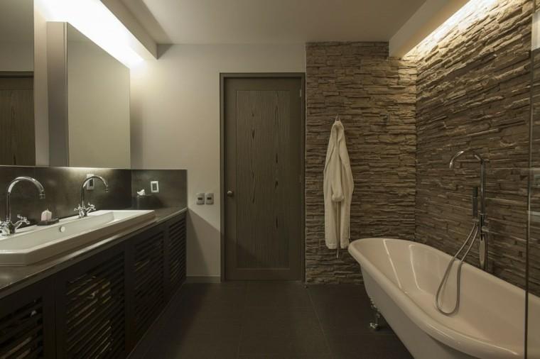 banos estilo minimalista moderno paredes piedra ideas