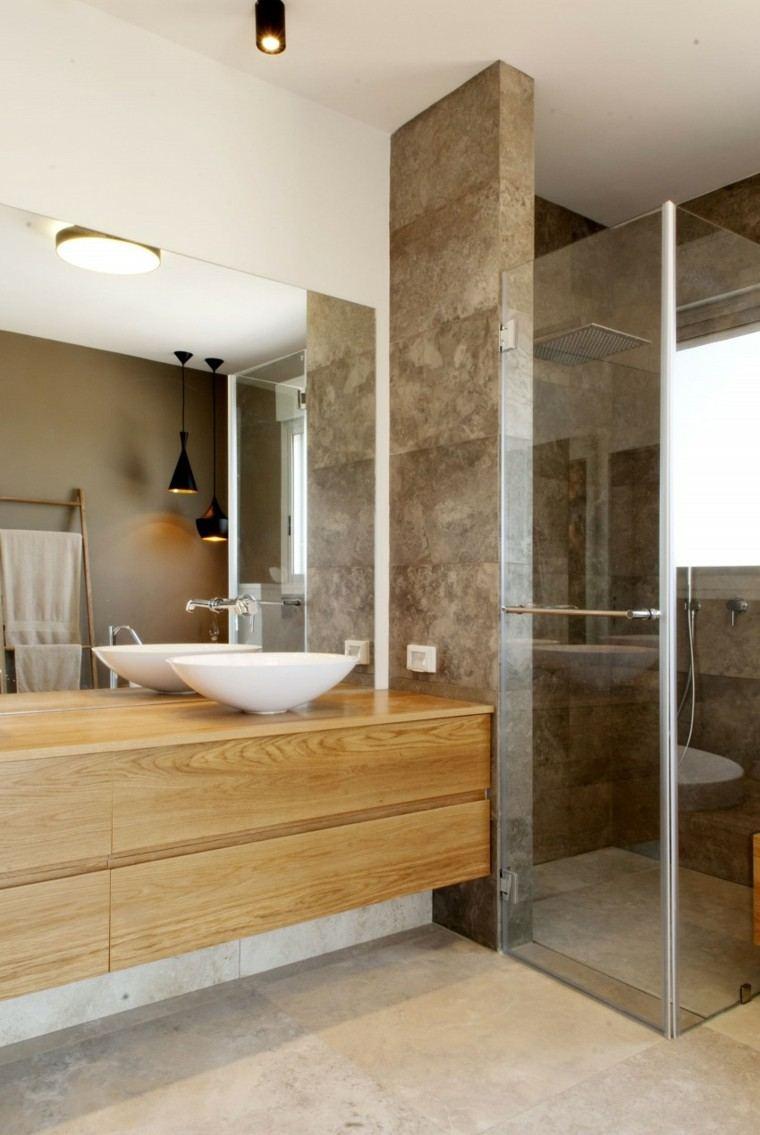 baños minimalistas modernos armarios madera espejo ideas