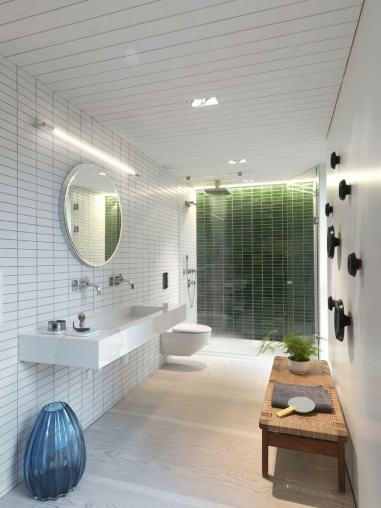 baños minimalistas modernos banco madera ideas