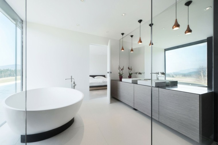Ba os minimalistas modernos 100 ideas impresionantes for Banos grandes diseno