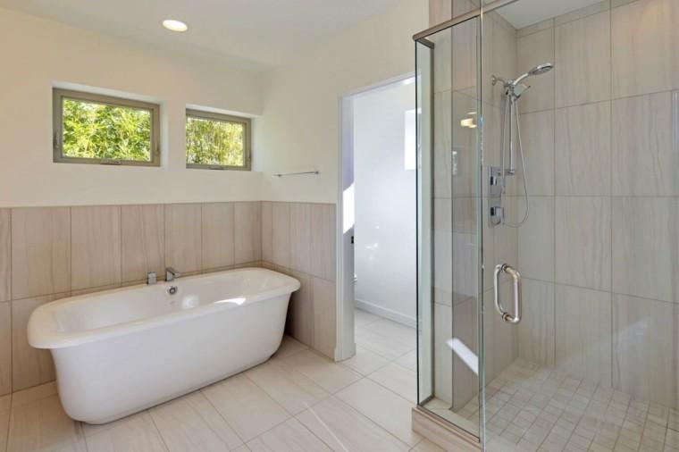 baños minimalistas modernos ducha banera mampara ideas