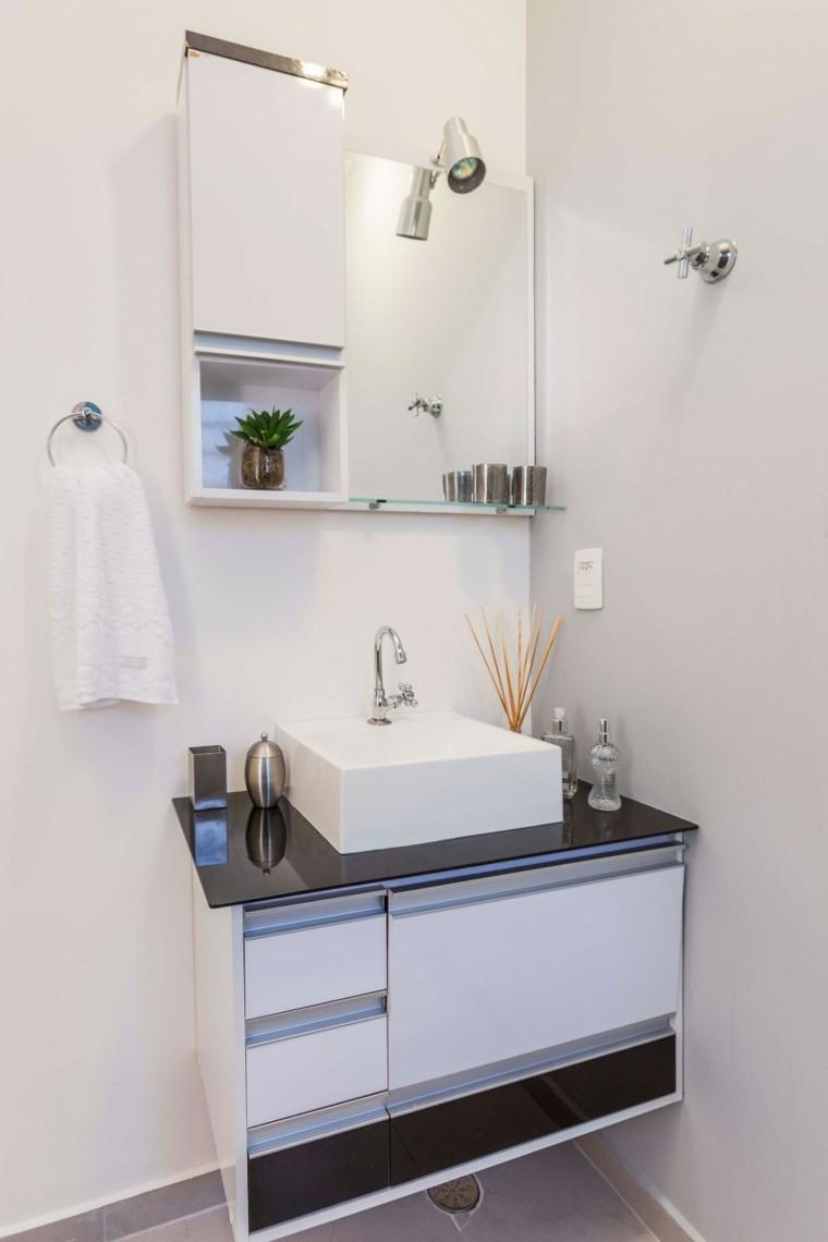 baños minimalistas modernos encimera negra lavabo ideas