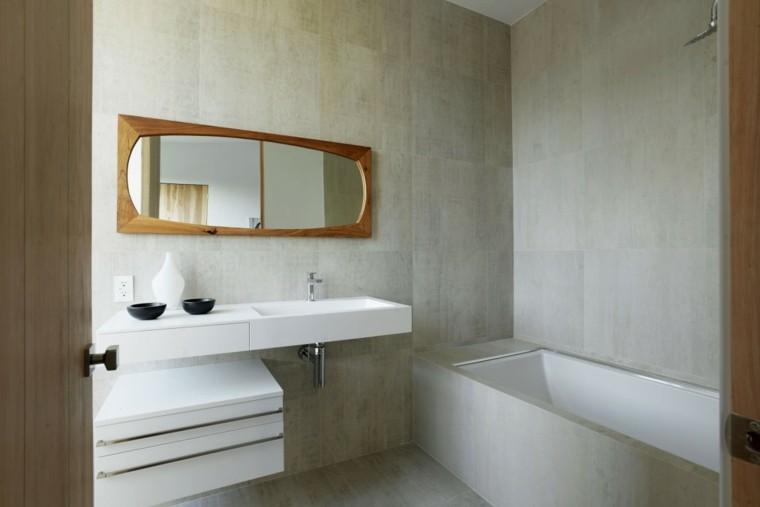 baños minimalistas modernos espejo marco madera ideas
