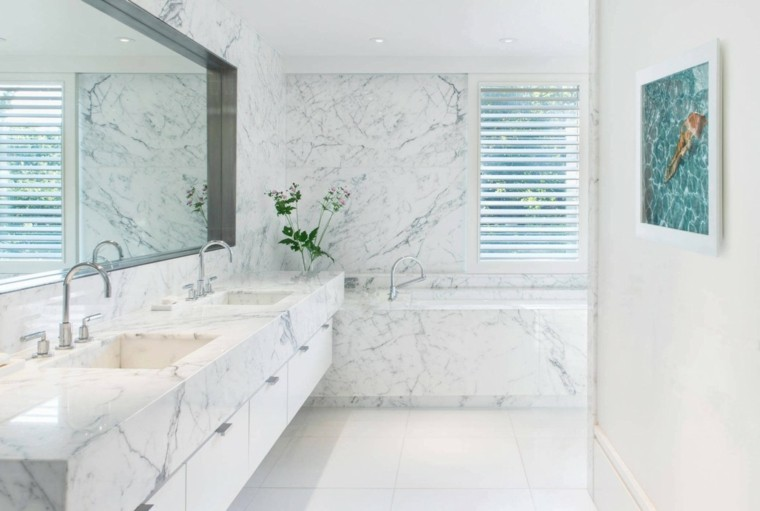 baños minimalistas modernos lavabo banera marmol ideas