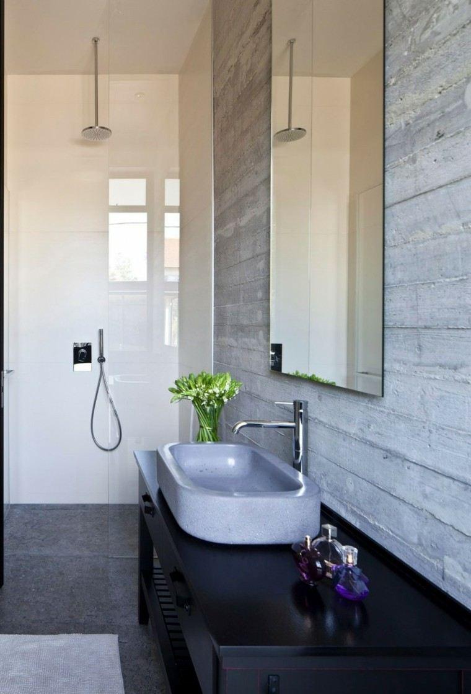 baños minimalistas modernos lavabo gris pared hormigon ideas