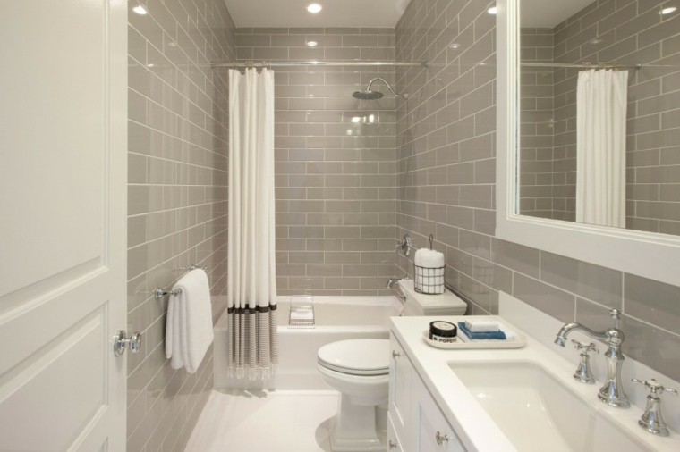Baños Grises Modernos:losas grises en el en el baño moderno al estilo minimalista