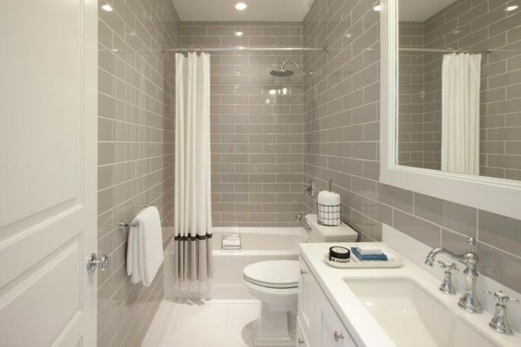 baños minimalistas modernos losas grises ducha ideas