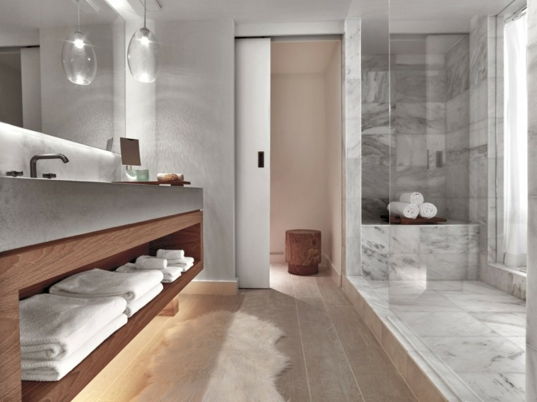 baños minimalistas modernos mampara cristal lampara ideas