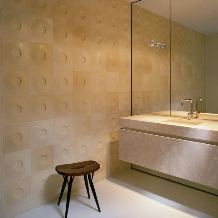 baños minimalistas modernos pared losas original ideas