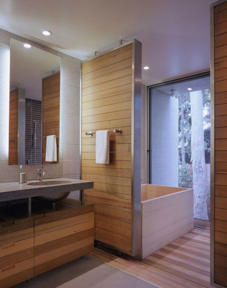 baños minimalistas modernos pared madera lavabo granito ideas