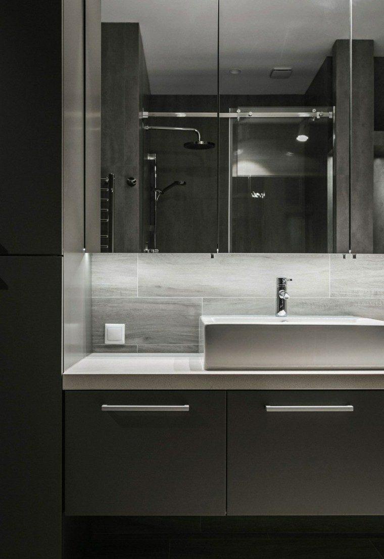 baños minimalistas modernos paredes oscuras ideas