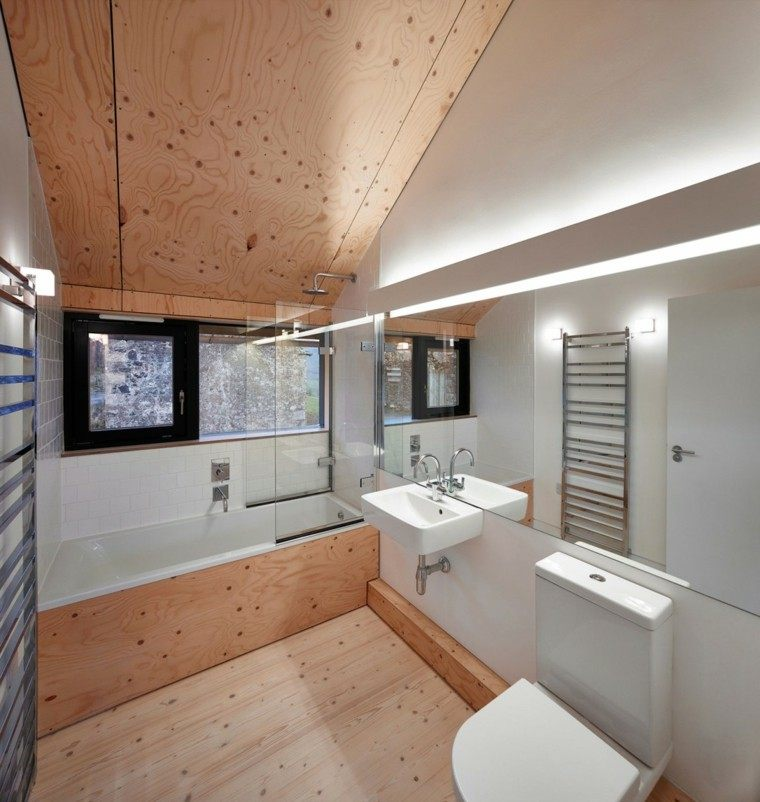 baños minimalistas modernos suelo paredes madera ideas