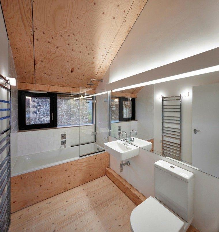 Ideas Baños Minimalistas:baños minimalistas modernos suelo paredes madera ideas