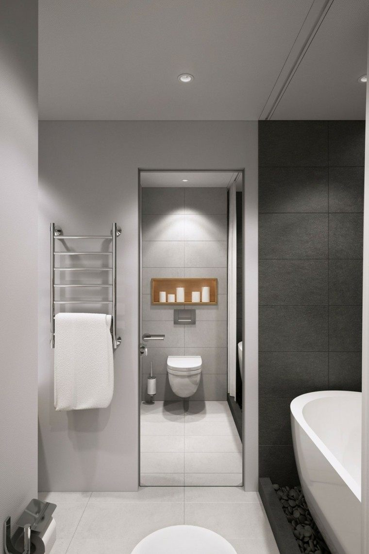 baños minimalistas modernos velas pared ideas