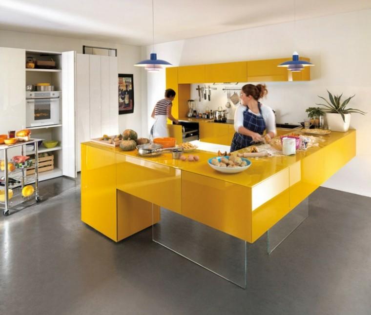 barra isla cocina amarilla lacada