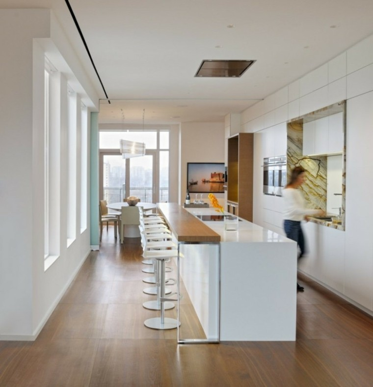 Barras de cocina de dise o moderno 50 ideas - Cocinas blancas y madera ...