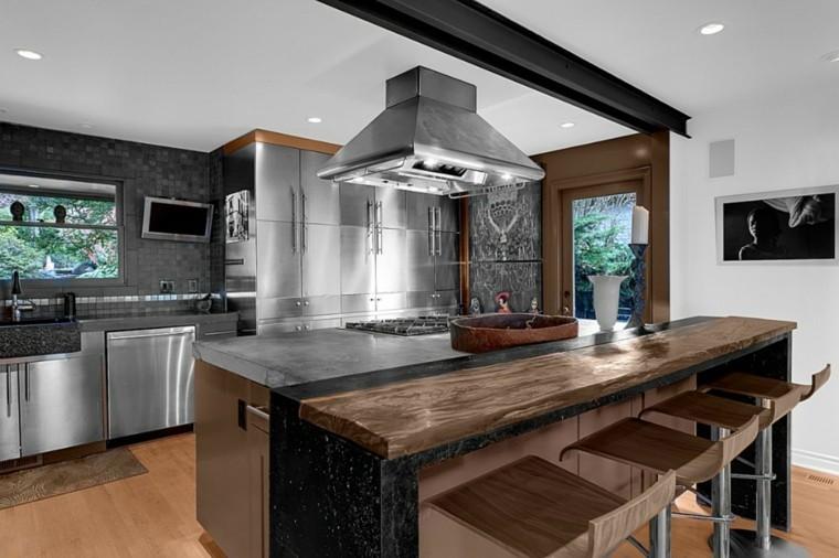 Barras de cocina de dise o moderno 50 ideas - Barras de cocina de madera ...