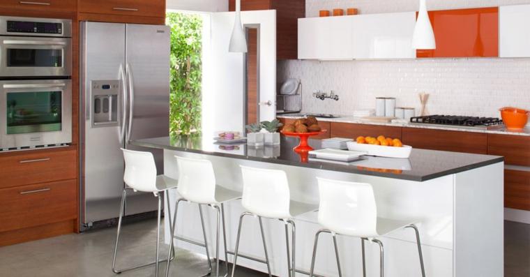 Barras de cocina de dise241o moderno 50 ideas : barra cocina sillas blancas from casaydiseno.com size 760 x 397 jpeg 181kB