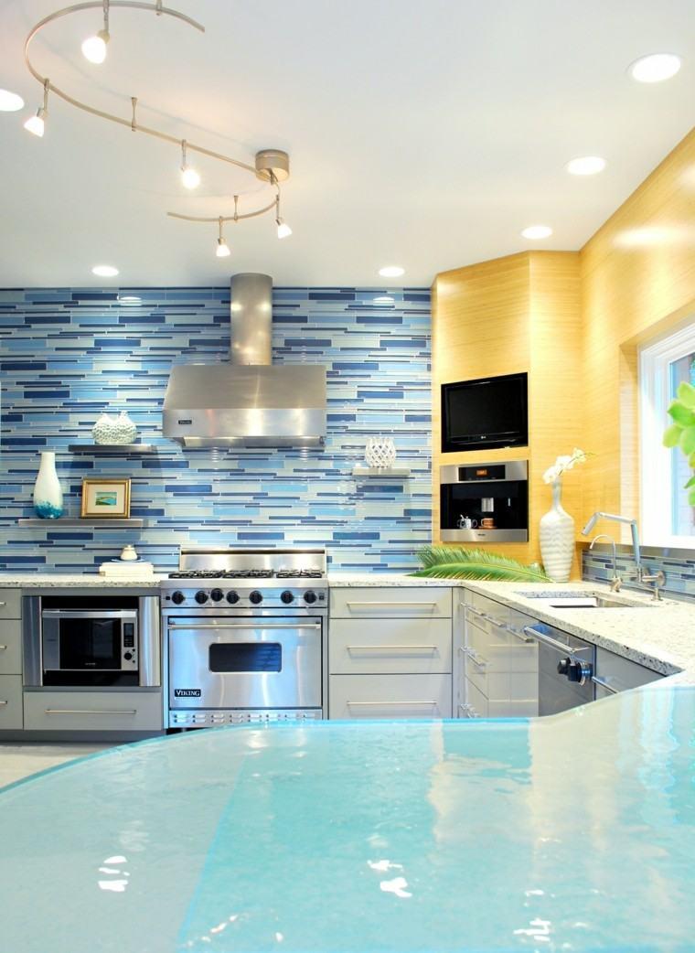 barra cocina vidrio color azul