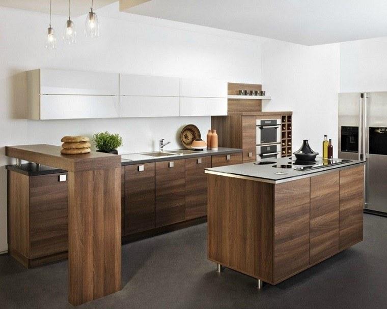Cocina americana con barra funcionalidad en tu hogar - Mesas para cocinas modernas ...