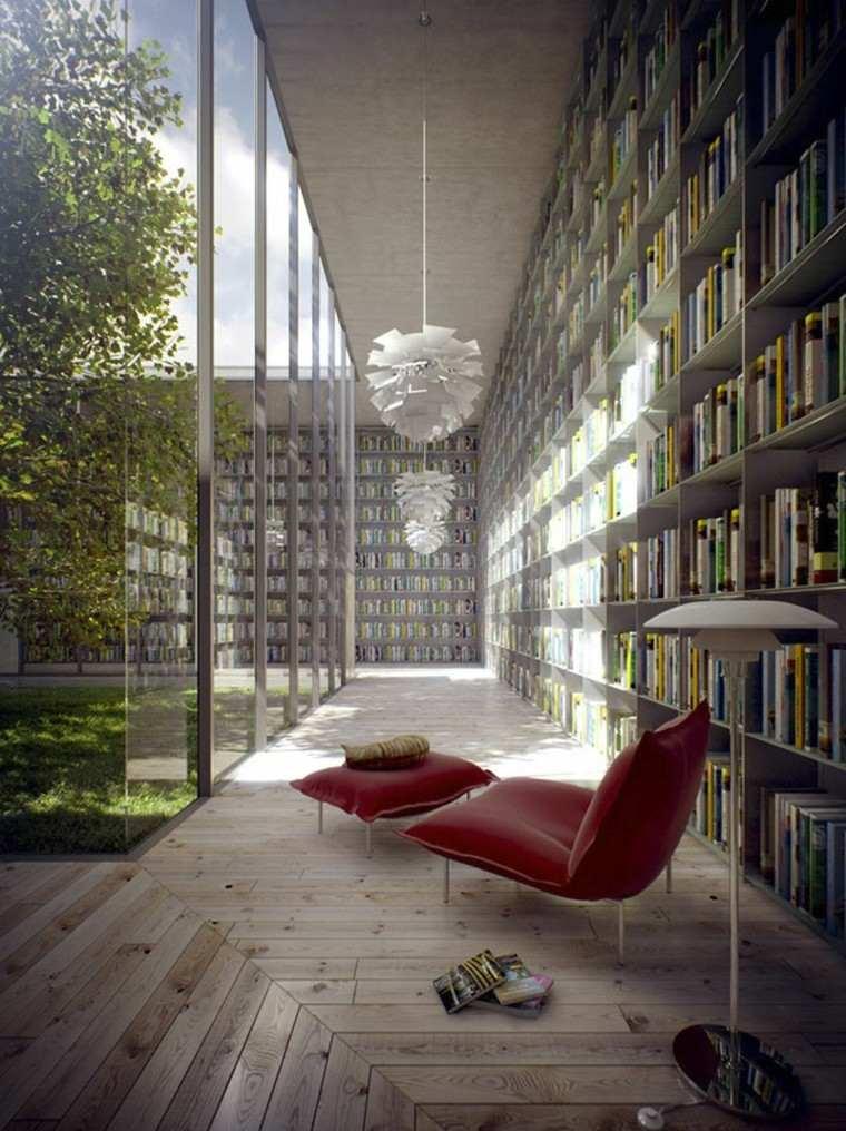 biblioteca estupenda jardin interior sillon