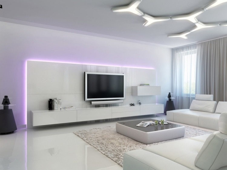 blanco madera lamparas moderno futurista