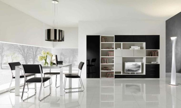 Blanco y negro para interiores 50 ideas inspiradoras - Comedor blanco y negro ...