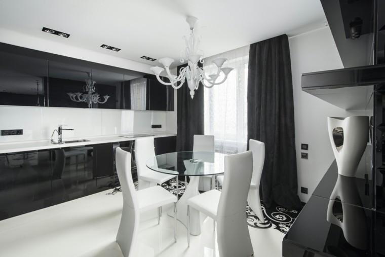 blanco y negro elegante cocina sillas