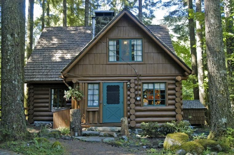 bonita cabaña puerta verde madera