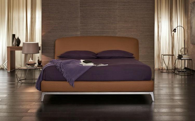 bonita cama acolchada piel marron