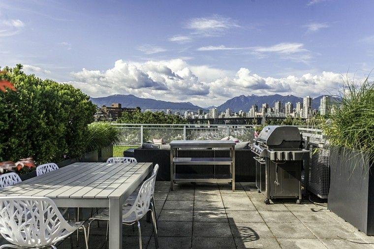 bonita terraza muebles acero comedor