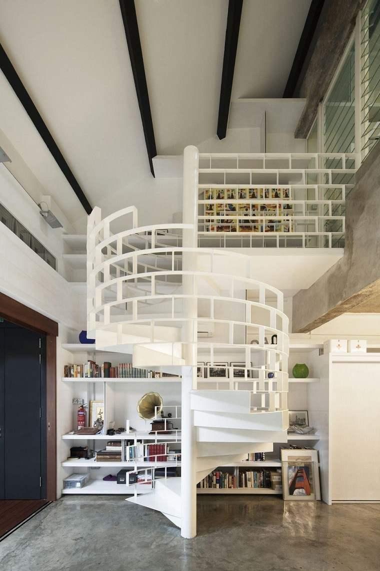 bonitas escaleras blancas caracol modernas
