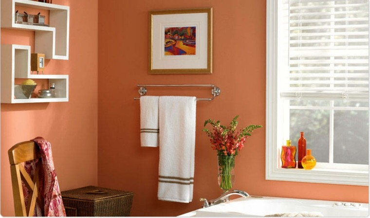 bonito baño diseño color salmon