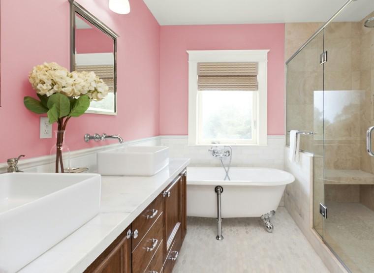 bonito baño pared color rosa
