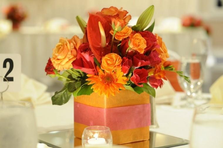 bonito centro mesa flores otoño