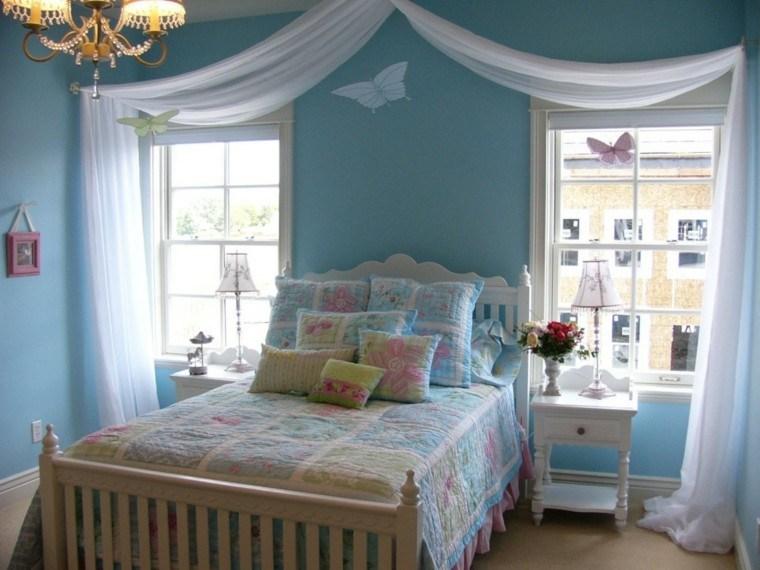 bonito diseño dormitorio color celeste