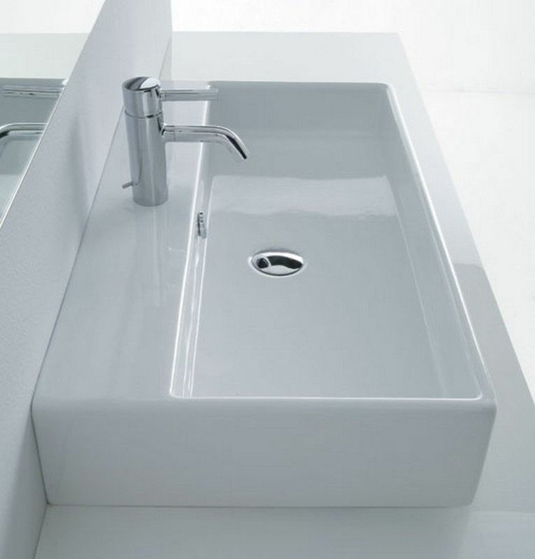 bonito lavabo rectangular color blanco