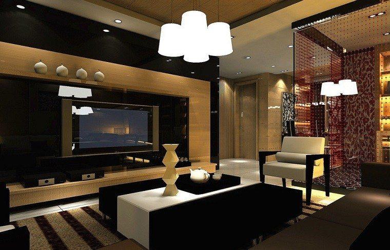 bonito salon negro diseño moderno