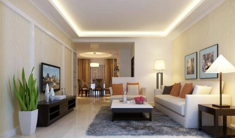 Techos modernos con luces led integradas 50 ideas - Iluminacion salon led ...