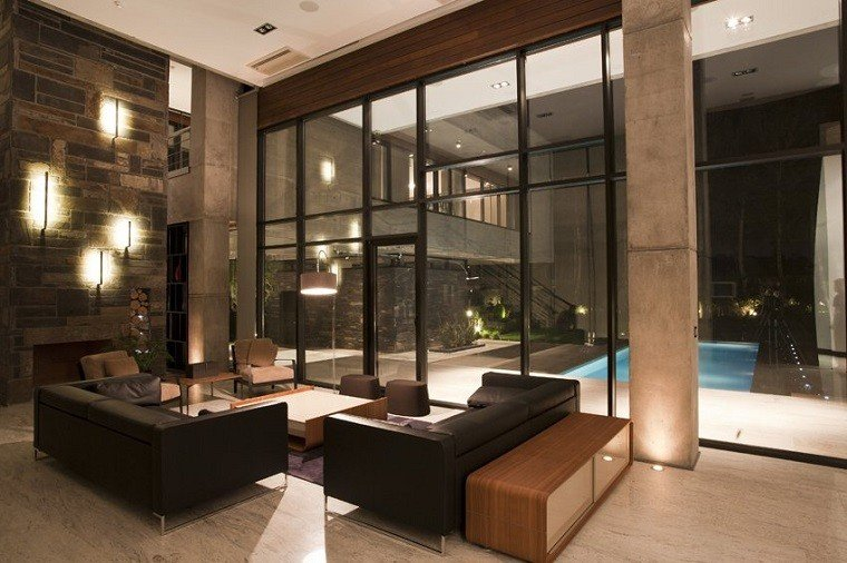 bonito diseño salon vistas piscina