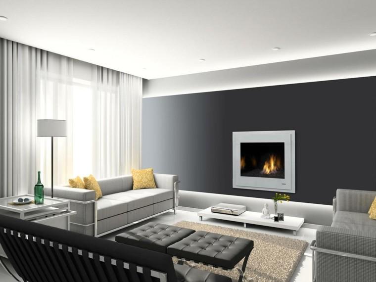 diseño chimeneas modernas lampara asientos cortinas
