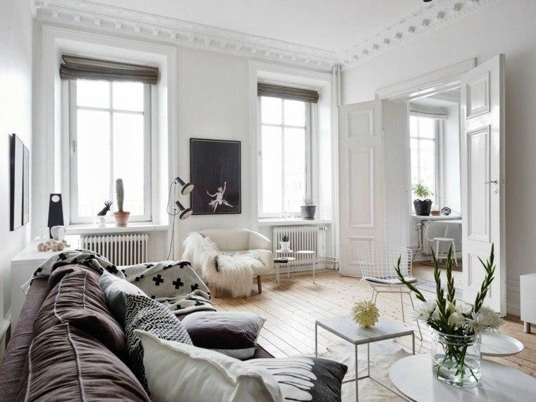 Decoración en blanco con muebles elegantes de diseño