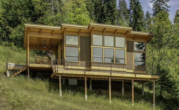 cabaña moderna madera flotante montaña