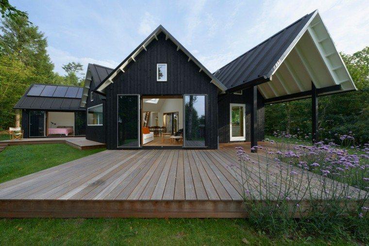 cabaña negra moderna plataforma madera