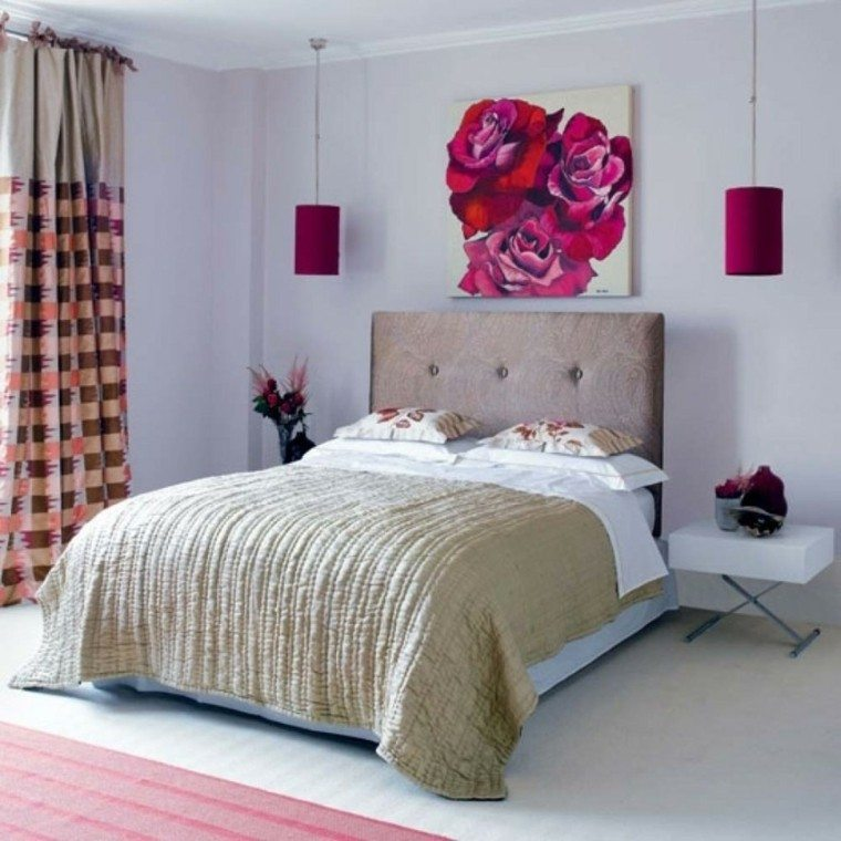 dormitorio juvenil de diseo moderno bonito cabecero cama cuadro rosas