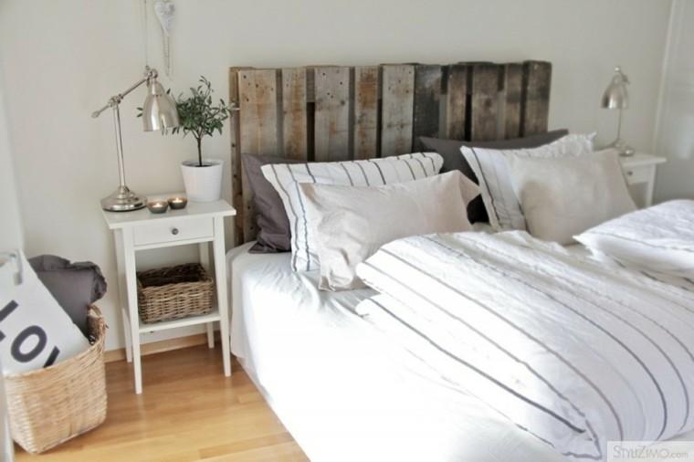 cabecero cama pallet madera gris