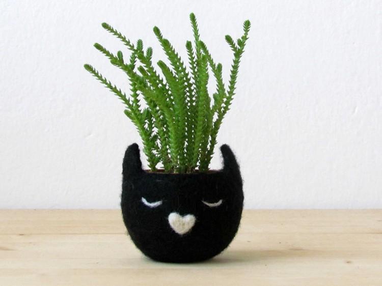 maceta cabeza gato color negro